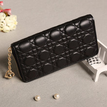 Fashion Womens Wallets and Purses Clutch Ling Grid Embossed Long Female Zipper Wallet Black Cute Coin Purse Card Holder New 2019