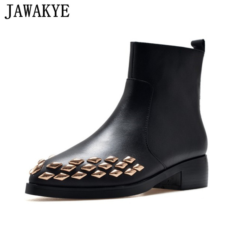 Women Boots punk style gold rivets studded Ankle Boots pointy toe winter shoes side zipper Riding martin Booties Zapatos Mujer