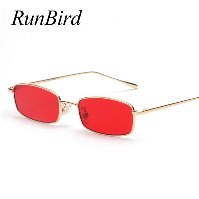 33a2ee2224 RunBird Thin Rectangle Sunglasses Women Metal Small Square Sun Glasses Men  Clear Red Pink Yellow UV400 Metal Frame Glasses 1283R