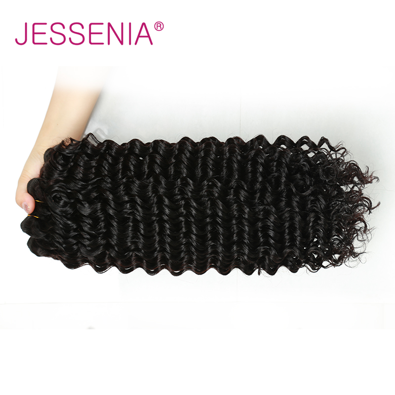 JESSENIA HAIR Peruvian Deep Wave Bundles Remy Hair Weaving Extensions Natural Color 1Pc Can Buy 3 Bundles A Lot Free Shipping
