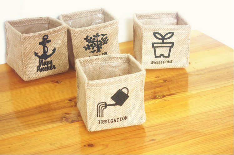 Hot Sale Burlap Cloth Storage Box Vintage Jute Folding Desktop Decor Makeup Sundries Org ...