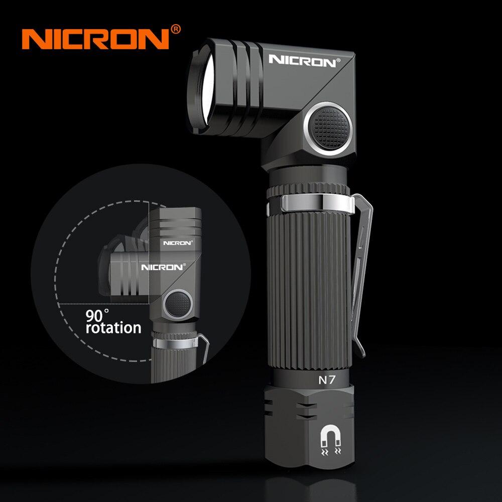 NICRON Double Carburant Mini LED lampe de Poche Mains Libres Avec Aimant Torsion Bas Coin Lampe Torche Étanche IP65 Pour La Maintenance N7