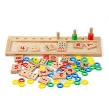 Bebé matemáticas Juguete los anillos del arco iris dominó preescolar entrenamiento material didáctico de madera matemáticas Juguete Juguete Oyuncak Educativos
