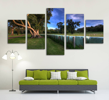 HD Print Canvas Painting Home Decorative No Frame 5 Panel Green Tree and Lake Landscape Picture Wall Art Poster For Living Room