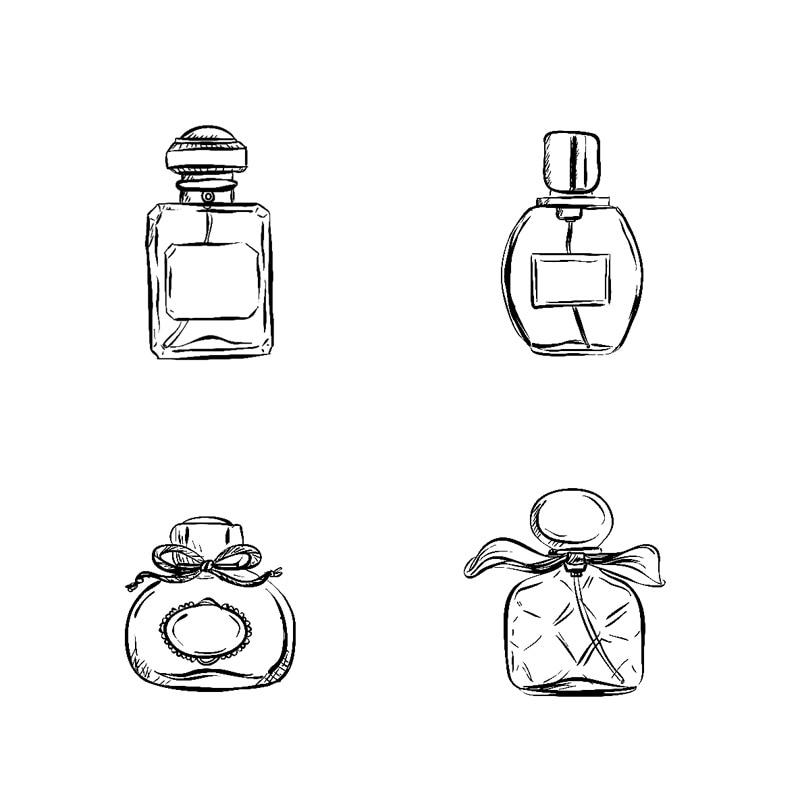 4 pcs/set Woman Perfume Bottles Stamp DIY Toy Self Inking