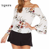 TQNFS Off Shoulder Flare Sleeve Chiffon Blouse Shirt Women Sexy Summer White Floral Print Blouse Casual