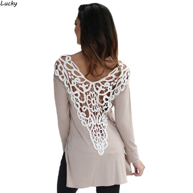 Fashion Sexy Women Lace T-Shirt Back Long Sleeve Tee Hollow Out Patchwork Casual Loose Top Women Spring T Shirt Lace Tops 41