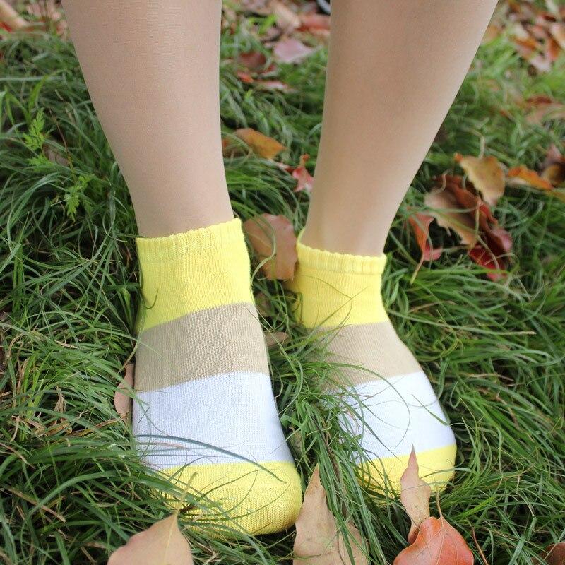 Tricolor Female Socks Cute Socks Shallow Mouth Women's Striped Socks Women's Standard Sock Slippers