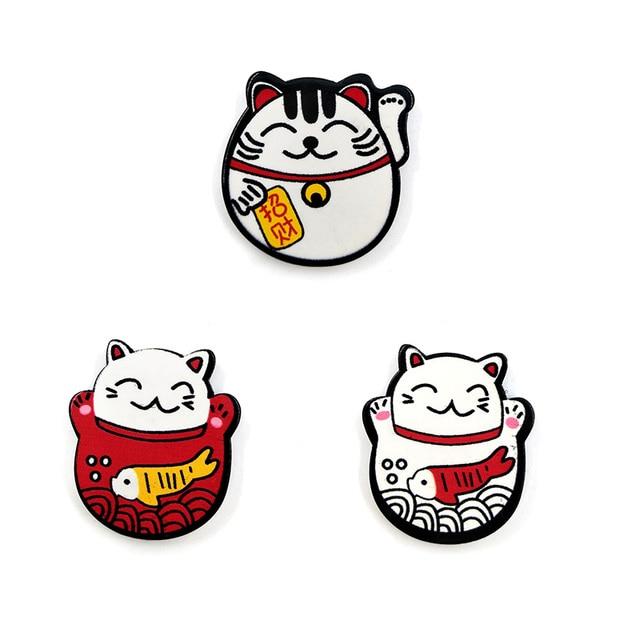 6pcs Japan Lucky Cats fridge magnets Cartoon Kitten animals whiteboard sticker Refrigerator Kid Message post Home Decoration 3