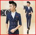 bleiser masculino blaser British Style Suits Blazers Mens Blazer Jacket Blue Plaid Men Suits Jackets Slim Blazer Three Quarter