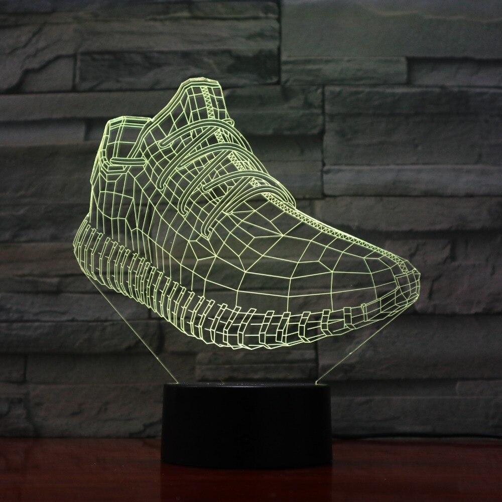 Спортивные кроссовки огни 3D светодиодный светильник 7 Красочные акриловые лампы как домашний украшения огни дети студент подарок GX-1132