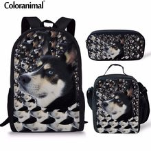 Coloranimal Schoolbags Set Children Mochilas Infantil Teenage Girl Casual  Husky School Backpack Cute Pet Dog Print 7b3754f3e390d