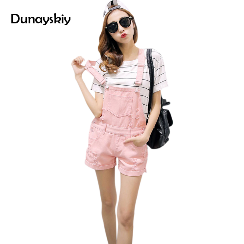Women Jean Playsuit Denim Overalls Shorts 2018 Summer Jumpsuits & Rompers Denim overalls for woman Romper Women Dunayskiy