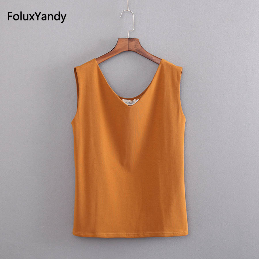 154fabbb2c0 Casual Women Tanks Plus Size 5 XL Sleeveless Summer Tops Orange Black Solid Tank  Tops KKFY2092-in Tank Tops from Women s Clothing   Accessories on ...