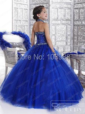 2017 m. Karališka mėlyna gėlė mergina - Suknelės vestuvėms - Nuotrauka 2