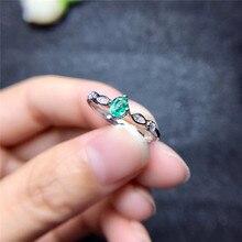 Хорошее ювелирное изделие, инкрустированное натуральным круглым изумрудом, кольцо из стерлингового серебра, открытая Женская регулируемая поддержка для обнаружения