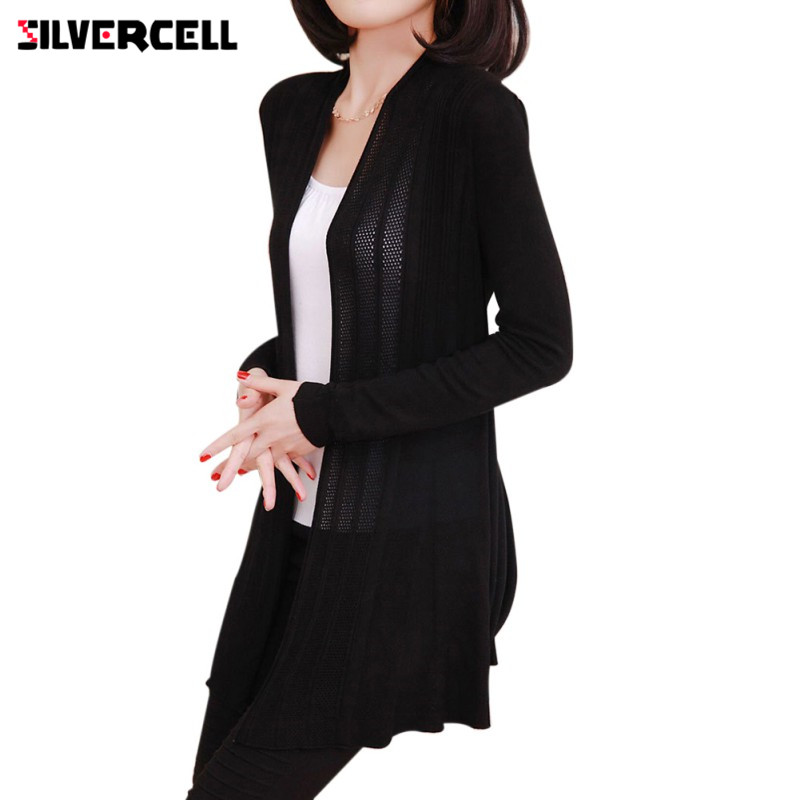 Women Autumn Winter Sun Protection Coat Knit Long Sleeve Sweater Cardigan Jacket ...