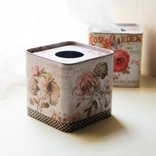 1 шт. цветок квадратная, жестяная коробки для бумажных салфеток Бумага Полотенца тканевый держатель, коробка для салфеток крышка Кухня организации хранения ЭНЛ 011