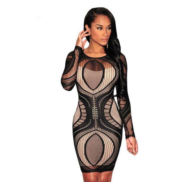 Nude Illusion Long Sleeve Bodycon Dress