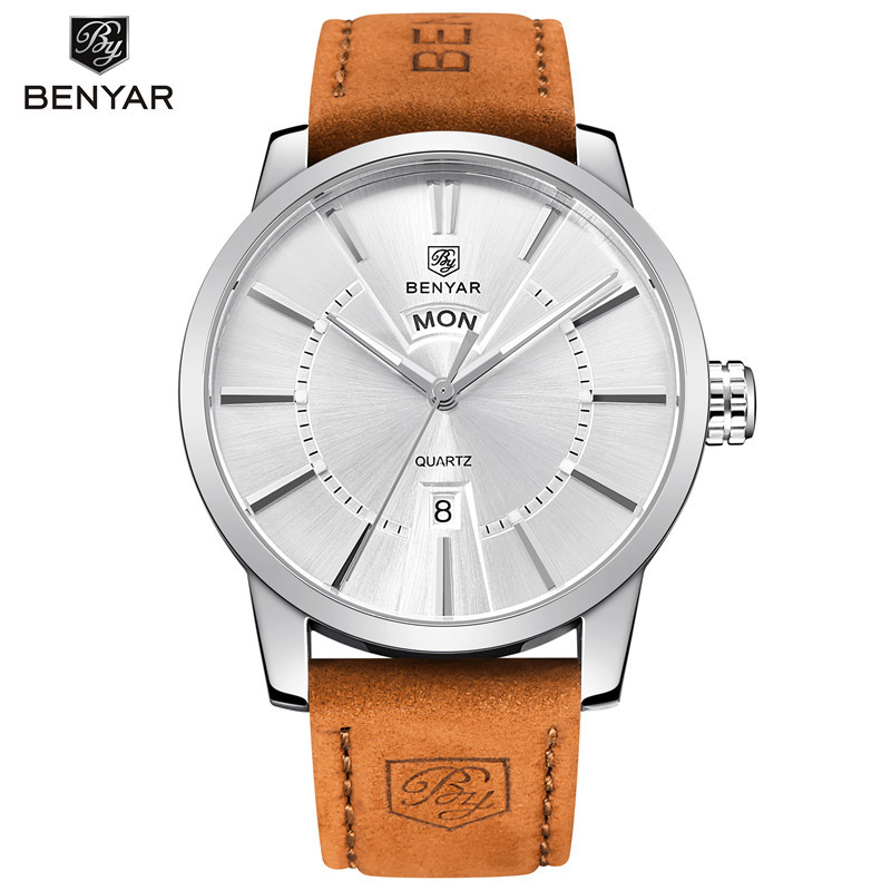BENYAR Leather Strap Quartz Watch Men Casual Fashion 30M Waterproof Mens Watches Male Clock Auto Date Wristwatch Montres Homme nary fashion watch leather strap men s watches quartz clock womens watch double calendar with date week lovers casual wristwatch