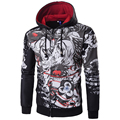 Harajuku Mens Hoodies Sweatshirts Rhinoceros Print Zipper Hip Hop Streetwear Coat Male Moleton Masculino Cardigan Best Quality