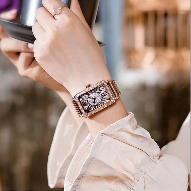 GUOU Women Watches Luxury Rhinestone Wristwatches Fashion Silver Bracelet Watch Women Full Steel Ladies Watch relogio feminino