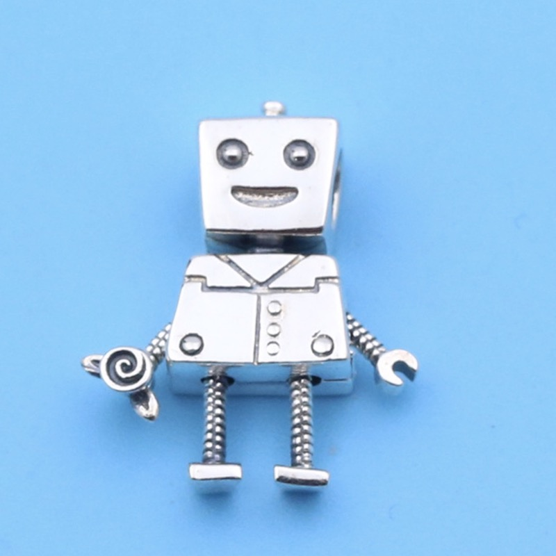 925 Sterling Silver Robot Charm Fit Pandora Charms Silver 925 Original Bracelet Moving Robot Charm Beads For Jewelry Making