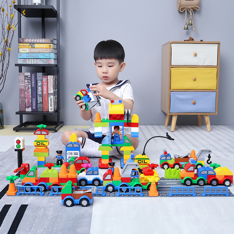 Building blocks Bricks City plicemen Assembly HIghway Track Compatible Legoe duplo Blocks car Toys For children gudi block city large passenger plane airplane block assembly compatible all brand building blocks educational toys for children