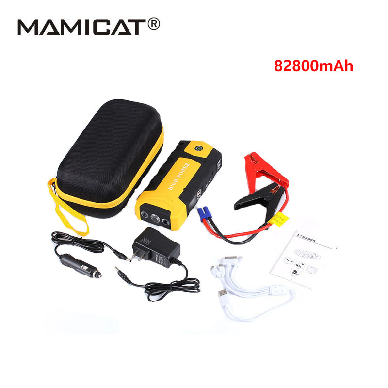Starting Booster Car Emergency 12V Car Battery Jump Starter Booster Mini Portable Power Bank Multi-function Car Jump Starter 4 usb car jump starter auto booster power bank 12v emergency battery charger multi function 3 led light with power adapter