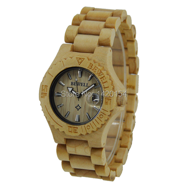 Natural Handmade Brand Waterproof Bewell Maple Wood Watch with Wooden Case natural handmade brand waterproof bewell maple wood watch with wooden case