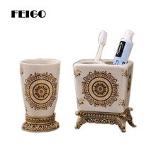 FEIGO New High Quality European Ceramic Bathroom Wash Toothbrush Storage Holder Creative Multi Functional F131
