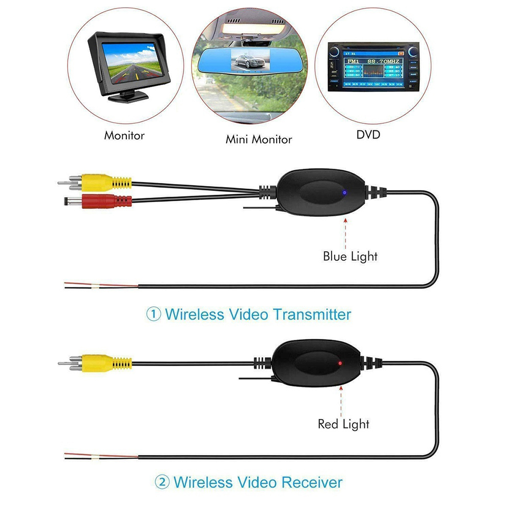 2,4 ghz Wireless RCA Video Sender Empfänger Kit für Auto DVD Multimedia Monitor GPS Rückansicht CCD Reverse Backup Kamera AV