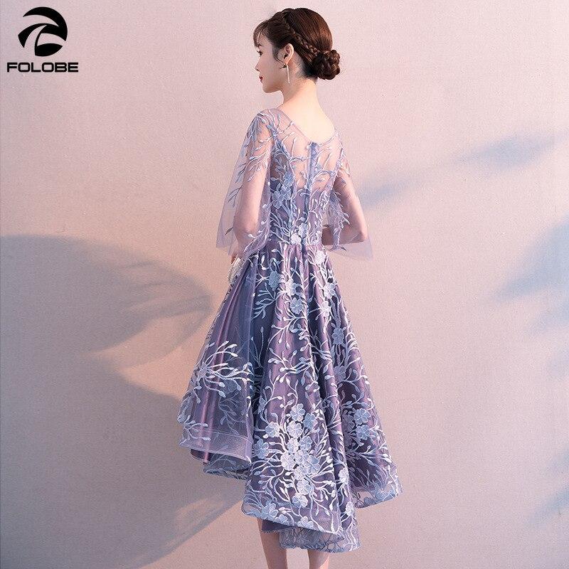 FOLOBE 2020 printemps élégant robe de soirée salut Lo bleu clair robes formelles demi manches broderie Banquet femmes robes vêtements - 2