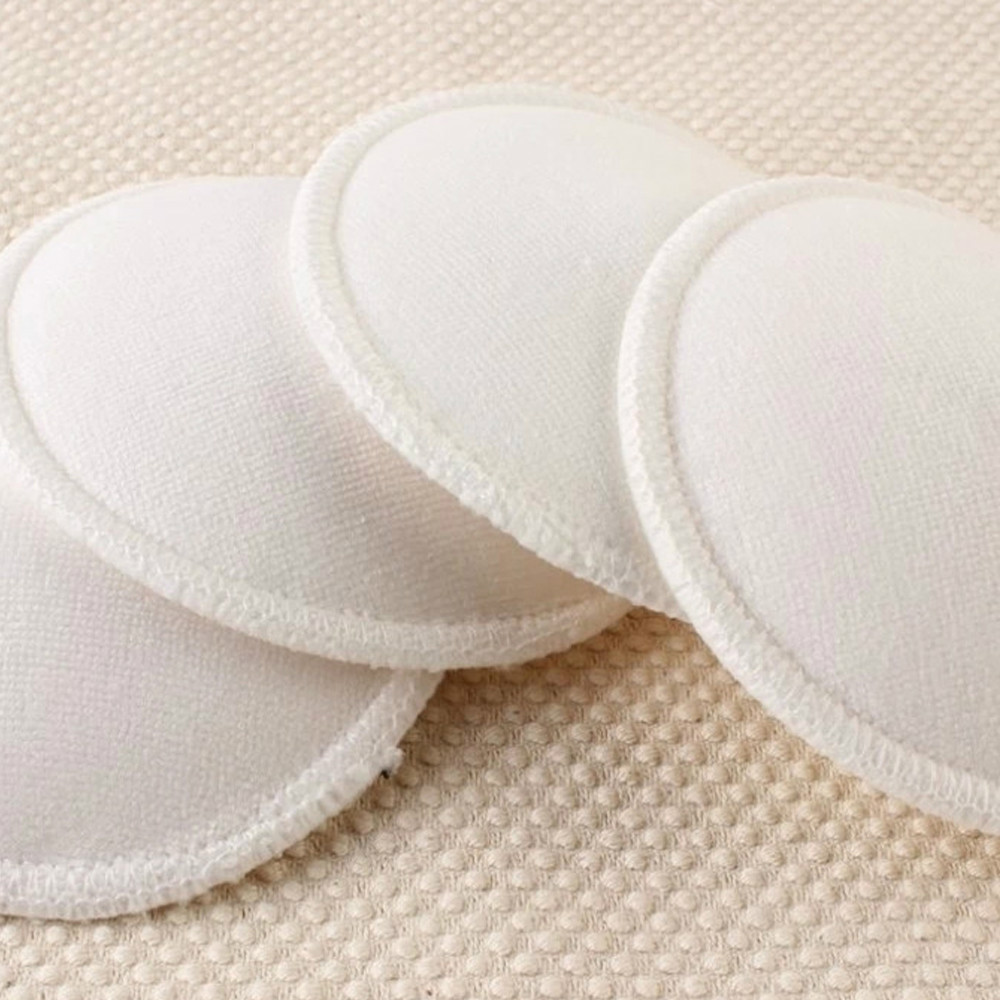 4 Pcs/pack White Breast Pad Nursing Pads For Mum Washable Waterproof Feeding Pad Bamboo Reusable Breast Pads