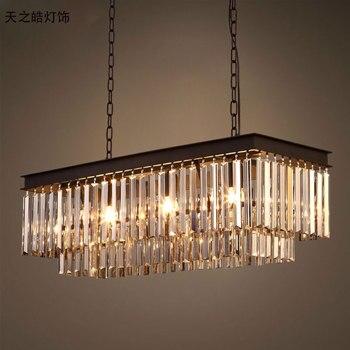 Rh Amerikanischen Vintage Kristall Rechteckige Eisen Anhänger Licht Hotel Wohnzimmer Esszimmer Schlafzimmer Bar Kunst Cafe Hängen Beleuchtung
