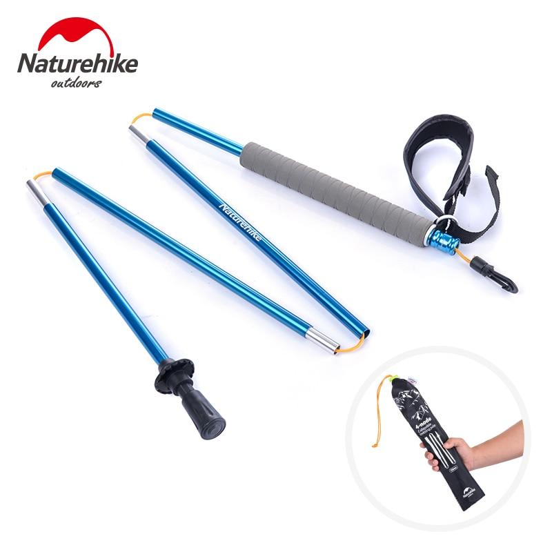 цена  Walking Stick Hiking Walking Trekking Pole Self Adjustable Folding 4 Section Staight Grip Handle 130CM Grey Green Blue  онлайн в 2017 году