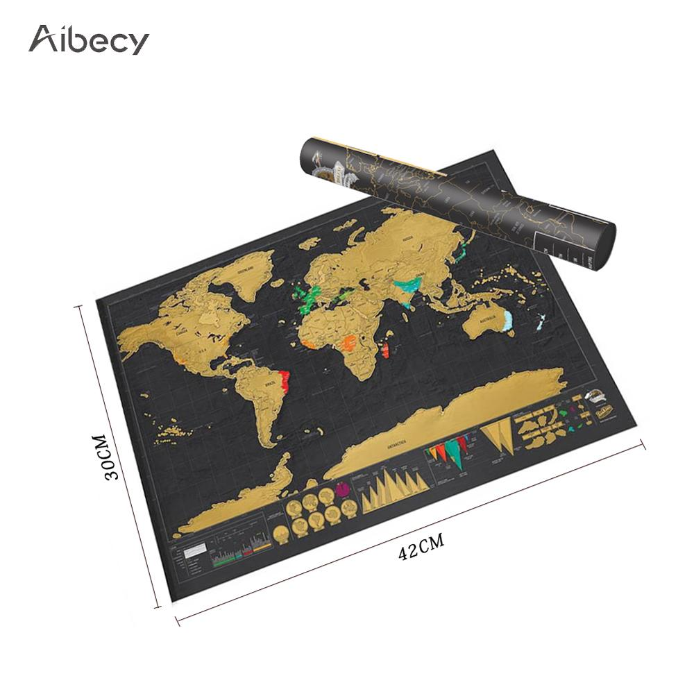 World Map Scratch Map Travel Map Poster Copper Personalized Journal Log Small Size With Cylinder Packing