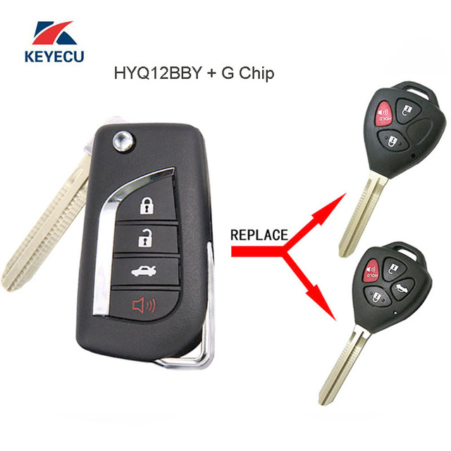 keyecu replacement modified flip remote car key fob for toyota yariskeyecu replacement modified flip remote car key fob for toyota yaris camry rav4 4runner corolla fcc id hyq12bby g chip