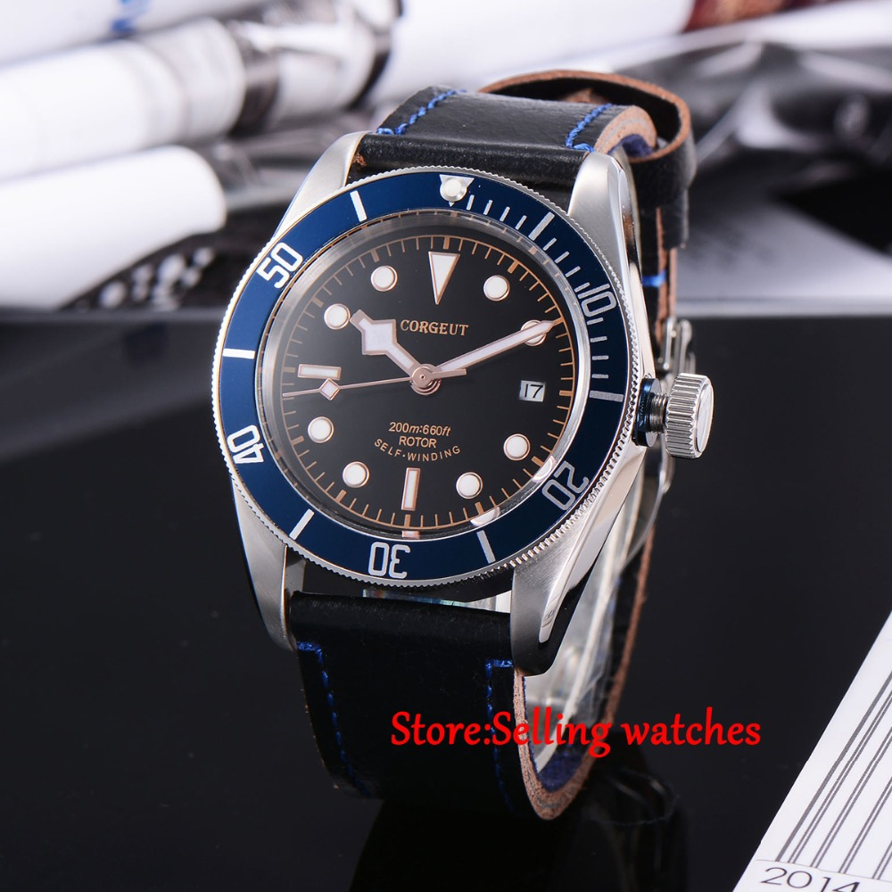 Buy 41mm corgeut black dial sapphire glass miyota automatic movement mens watch for Auto movement watches