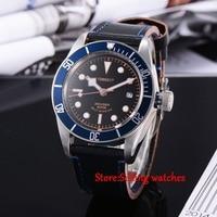 41mm corgeut miyota movimento Automático mens Watch black dial Sapphire Vidro C03