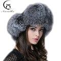 Sombrero de piel de lujo de las mujeres del oído cap real fox sombrero de piel al aire libre soild conjunto de Piel de Sombreros de Alta Calidad Suave Caliente del Invierno de Las Mujeres Sombrero De Mujer