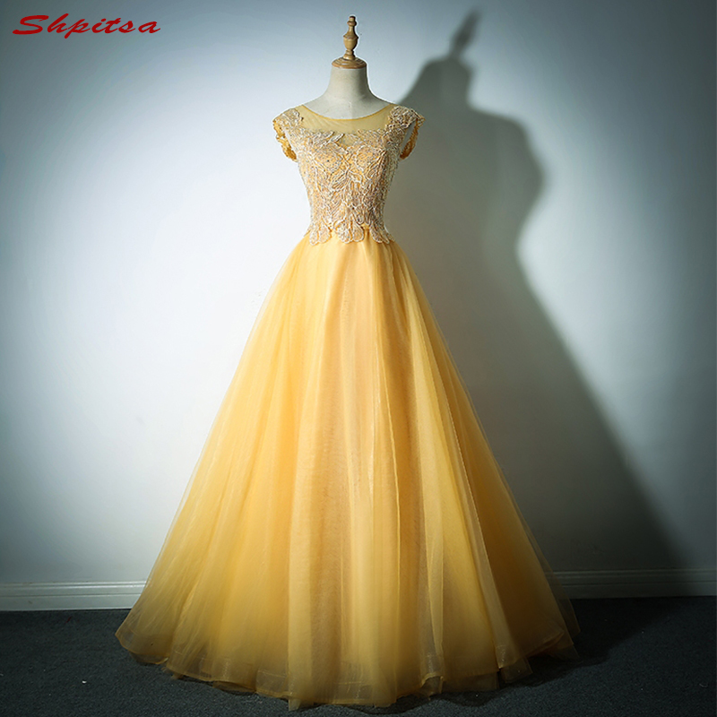 Yellow Long Lace Prom Dresses A Line Sexy 8th Grade Women Tulle