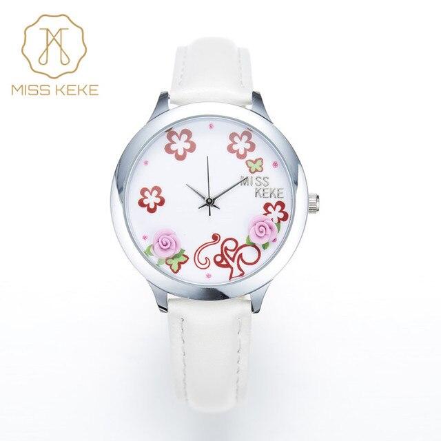 eac358ccd7f Relojes mujer 2016 SENHORITA KEKE 3D argila bonito mini mundo relógios  Relogio feminino Mulheres Senhoras de quartzo de couro Floral  Wristwatches011