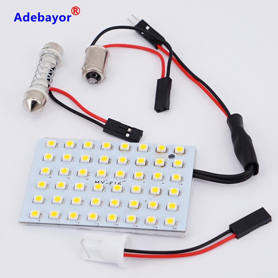 SMD 48 LED 3528 24v Room Dome Door Car Auto Truck Interior Light Bulb panel Lamp Warm White Reading Lights Adapter T10 BA9S Dome practical sencart t027 ba9s 4w warm white light 15 smd leds car read lamp 12 16v
