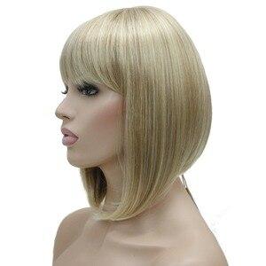 Image 5 - StrongBeauty 女性のかつらきちんとビッグバンボブスタイルショートストレートヘア黒/ブロンド合成フルウィッグ 6 色