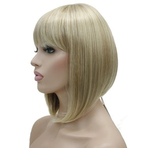 Image 5 - StrongBeauty Womens Wigs Neat Bang Bob Style Short Straight Hair Black/Blonde Synthetic Full Wig 6 Color
