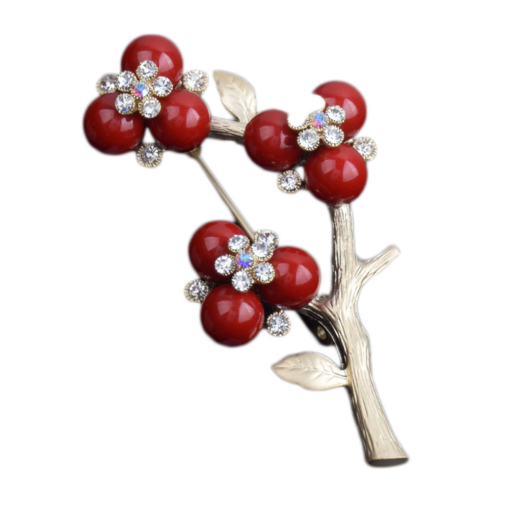 Vintage Imitation Pearls Plum Flower Brooch Silver Plated Special Brooches Pins Gift for women Jewelry