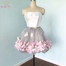 Real Photos vestidos de formatura 2017 Flowers Prom Dresses Short Evening Gray Organza Fashion Party Formal Gown for Graduation