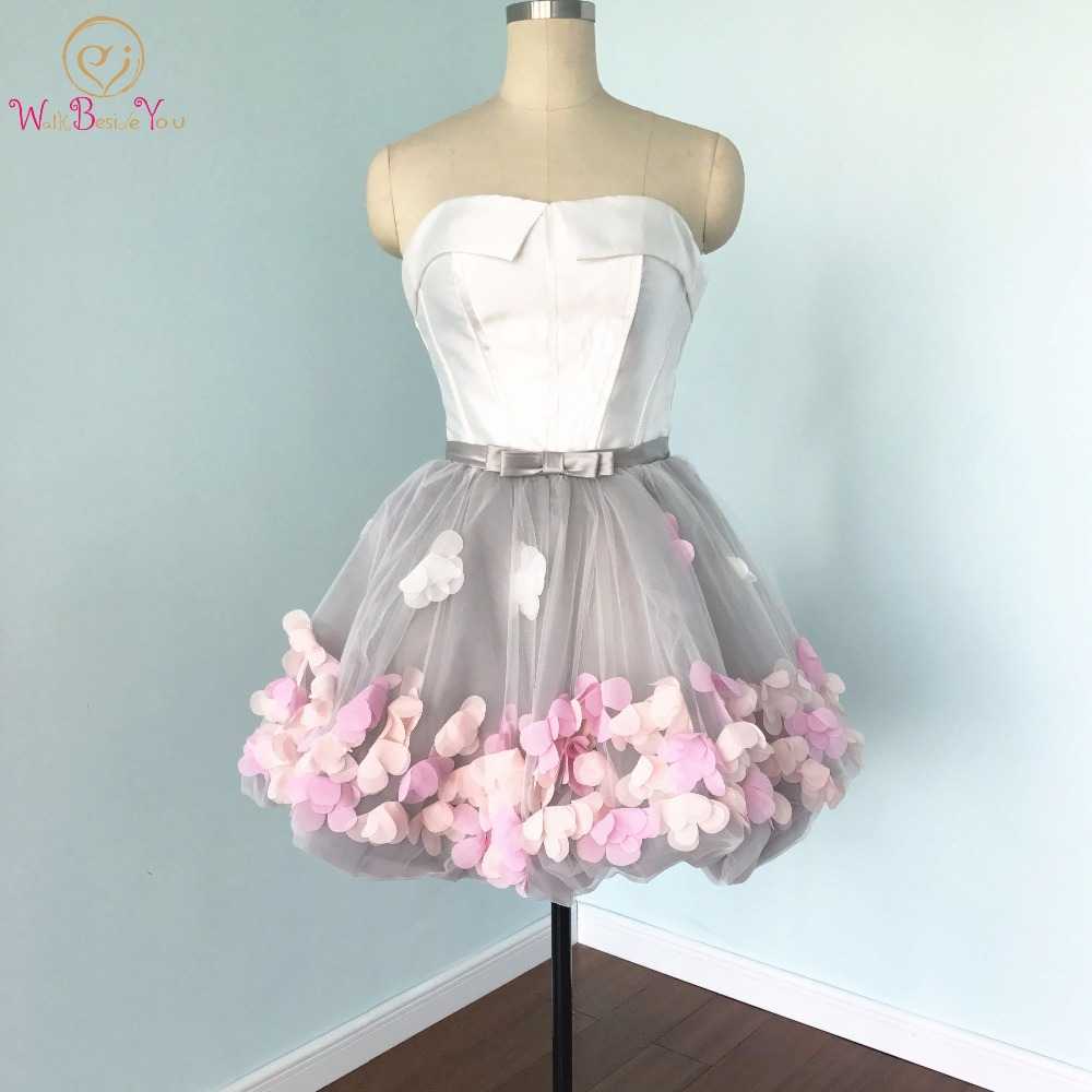 2020 Short Prom Dresses Graduation Strapless Gray White Flowers Real Photos Evening Organza Party Formal Gown Walk Beside You