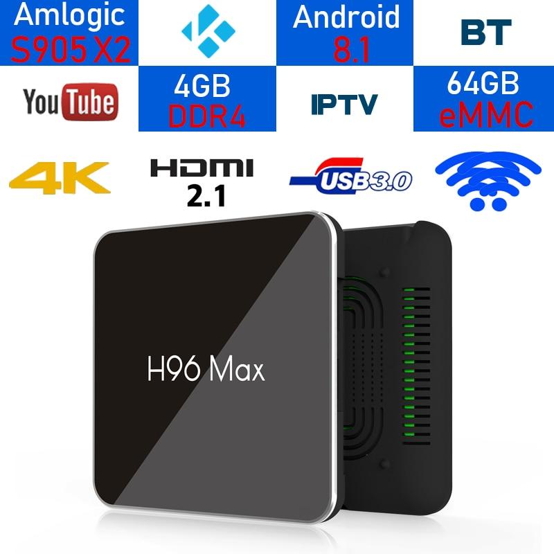 H96Max Android 8.1 Amlogic S905X2 LPDDR4 Quad Core 4 gb 64 gb 2.4g e 5 ghz Wifi BT 1000 m H.265 4 k Set top box Smart TV BOX X96 цена